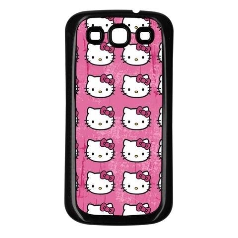 Hello Kitty Patterns Samsung Galaxy S3 Back Case (Black)
