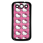 Hello Kitty Patterns Samsung Galaxy S3 Back Case (Black) Front