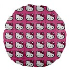 Hello Kitty Patterns Large 18  Premium Flano Round Cushions Front