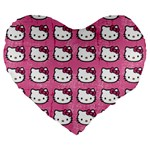 Hello Kitty Patterns Large 19  Premium Flano Heart Shape Cushions Front