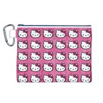 Hello Kitty Patterns Canvas Cosmetic Bag (L) Front