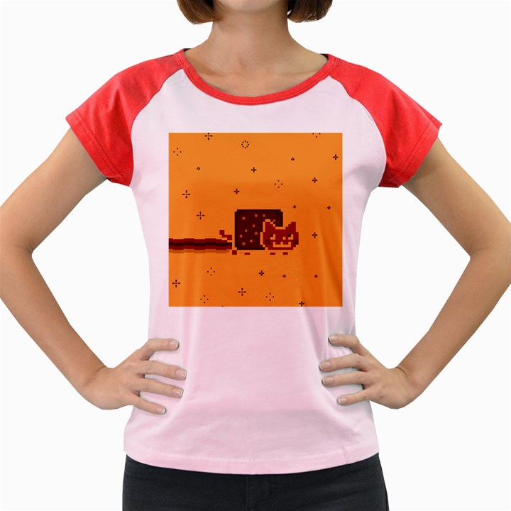 Nyan Cat Vintage Women s Cap Sleeve T-Shirt