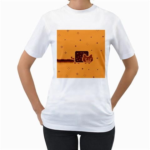 Nyan Cat Vintage Women s T-Shirt (White) (Two Sided)