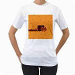 Nyan Cat Vintage Women s T-Shirt (White) (Two Sided) Front