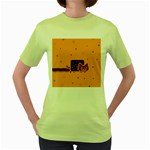 Nyan Cat Vintage Women s Green T-Shirt Front