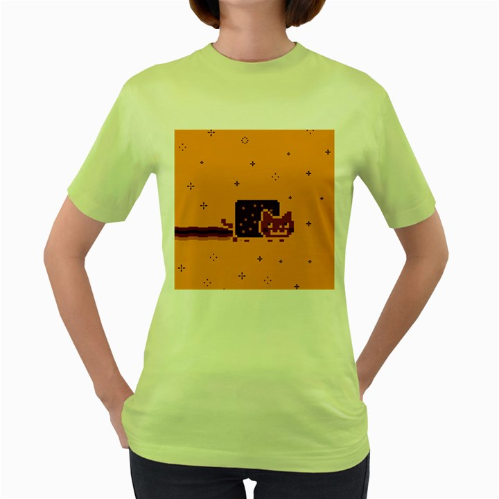 Nyan Cat Vintage Women s Green T-Shirt