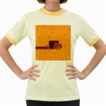 Nyan Cat Vintage Women s Fitted Ringer T-Shirts Front