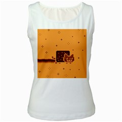 Nyan Cat Vintage Women s White Tank Top