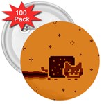 Nyan Cat Vintage 3  Buttons (100 pack)  Front