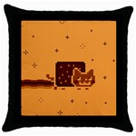 Nyan Cat Vintage Throw Pillow Case (Black) Front