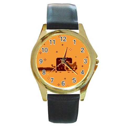 Nyan Cat Vintage Round Gold Metal Watch
