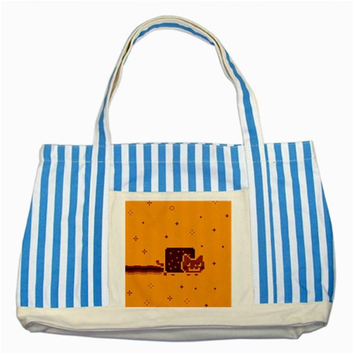 Nyan Cat Vintage Striped Blue Tote Bag
