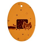 Nyan Cat Vintage Oval Ornament (Two Sides) Back