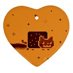 Nyan Cat Vintage Heart Ornament (2 Sides) Front
