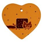 Nyan Cat Vintage Heart Ornament (2 Sides) Back