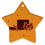Nyan Cat Vintage Star Ornament (Two Sides)  Front
