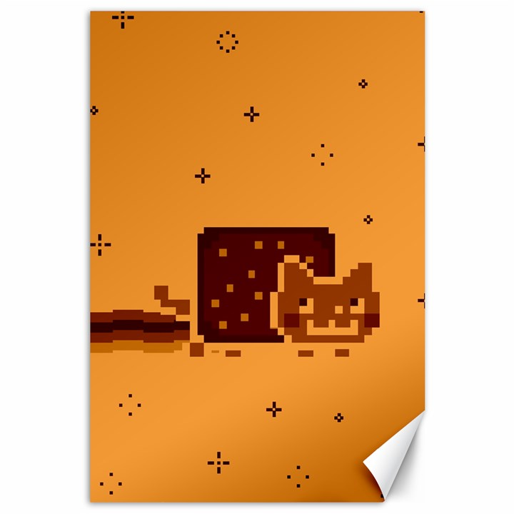 Nyan Cat Vintage Canvas 12  x 18
