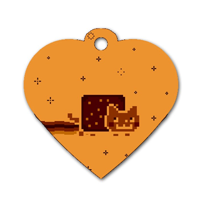 Nyan Cat Vintage Dog Tag Heart (Two Sides)