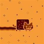 Nyan Cat Vintage Happy Birthday 3D Greeting Card (8x4) Inside