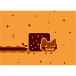 Nyan Cat Vintage Birthday Cake 3D Greeting Card (7x5) Front