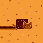 Nyan Cat Vintage Merry Xmas 3D Greeting Card (8x4) Inside
