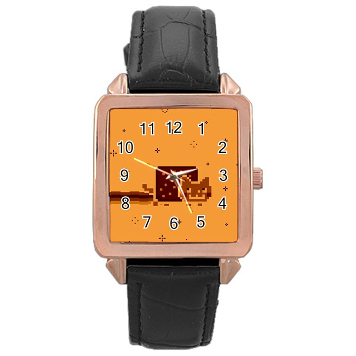 Nyan Cat Vintage Rose Gold Leather Watch