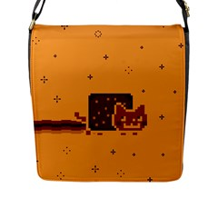 Nyan Cat Vintage Flap Messenger Bag (L)