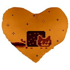 Nyan Cat Vintage Large 19  Premium Flano Heart Shape Cushions