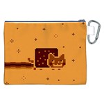Nyan Cat Vintage Canvas Cosmetic Bag (XXL) Back