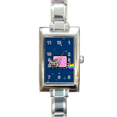Nyan Cat Rectangle Italian Charm Watch