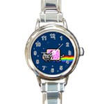 Nyan Cat Round Italian Charm Watch Front