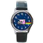 Nyan Cat Round Metal Watch Front