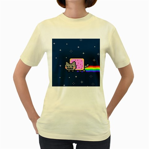 Nyan Cat Women s Yellow T-Shirt