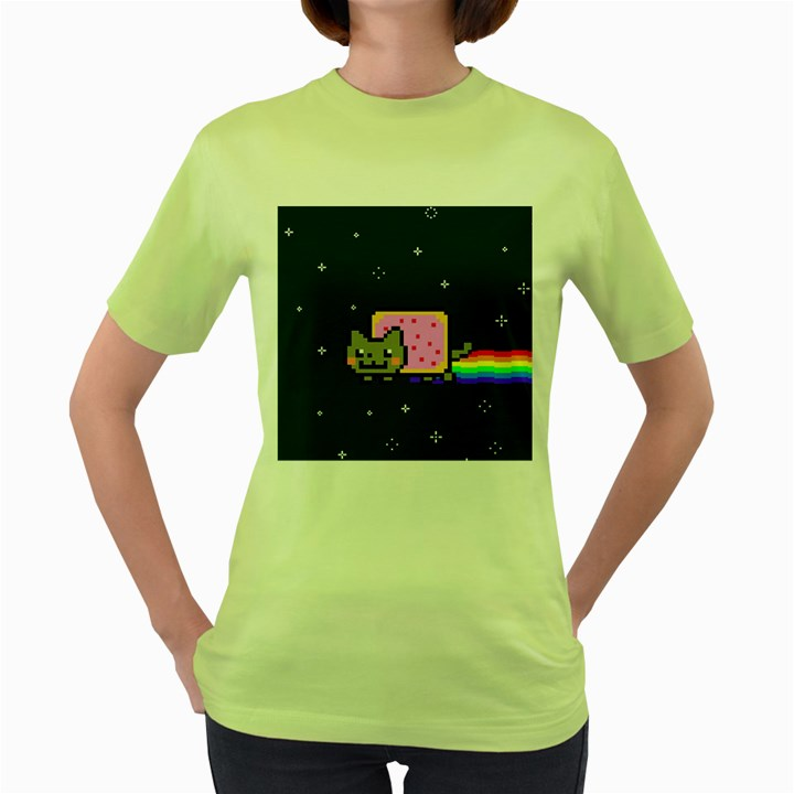 Nyan Cat Women s Green T-Shirt