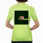 Nyan Cat Women s Green T-Shirt Back
