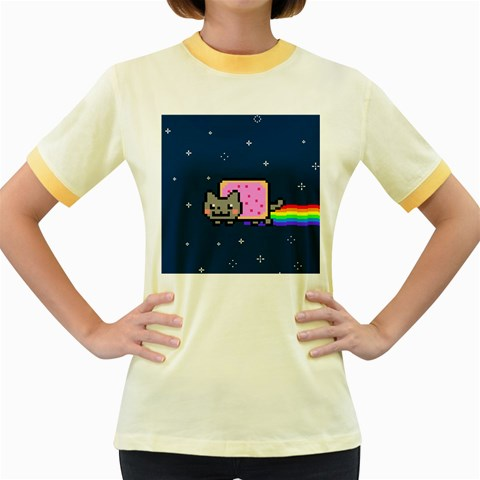 Nyan Cat Women s Fitted Ringer T-Shirts