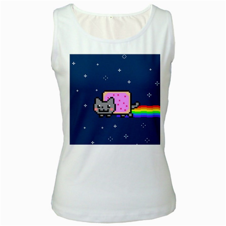 Nyan Cat Women s White Tank Top