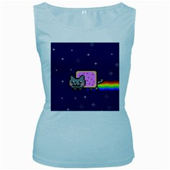 Nyan Cat Women s Baby Blue Tank Top