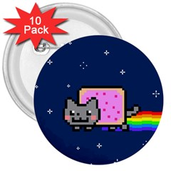 Nyan Cat 3  Buttons (10 pack)