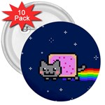 Nyan Cat 3  Buttons (10 pack)  Front
