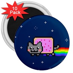 Nyan Cat 3  Magnets (10 Pack)