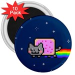 Nyan Cat 3  Magnets (10 pack)  Front