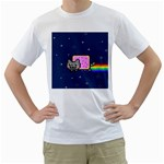 Nyan Cat Men s T-Shirt (White) (Two Sided) Front