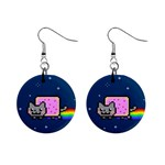 Nyan Cat Mini Button Earrings Front