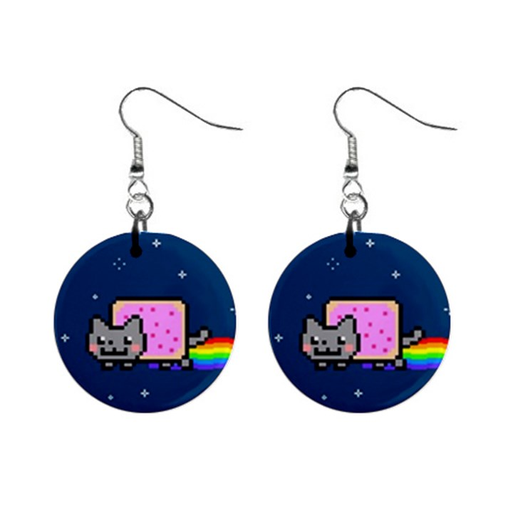 Nyan Cat Mini Button Earrings