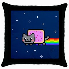 Nyan Cat Throw Pillow Case (Black)