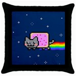 Nyan Cat Throw Pillow Case (Black) Front
