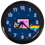 Nyan Cat Wall Clocks (Black) Front