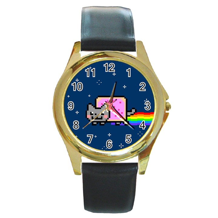 Nyan Cat Round Gold Metal Watch