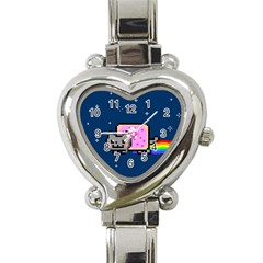 Nyan Cat Heart Italian Charm Watch